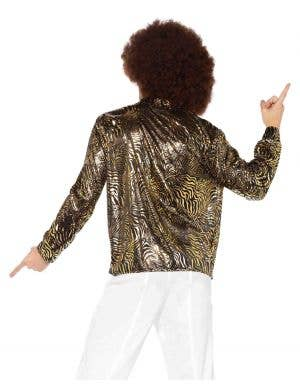 Zebra Gold Foil Print Men's Disco Costume Shirt
