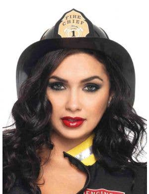 Fireman Adults Deluxe Black Costume Hat