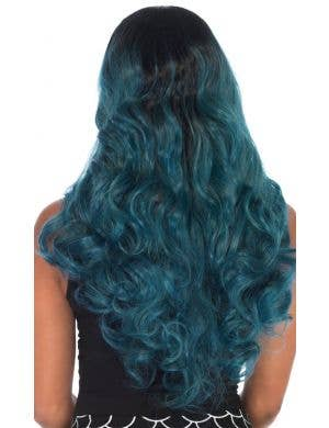 Dark Blue Ombre Women's Curly Mermaid Wig
