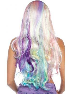 Pastel Rainbow Women's Long Curly Unicorn Costume Wig
