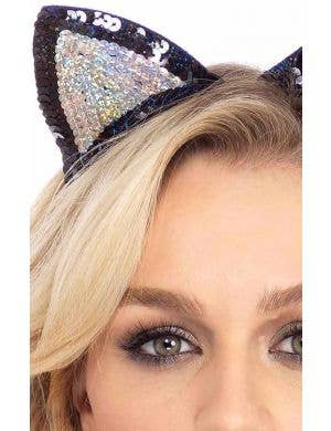 Sequined Black and Silver Cat Ears on Headband