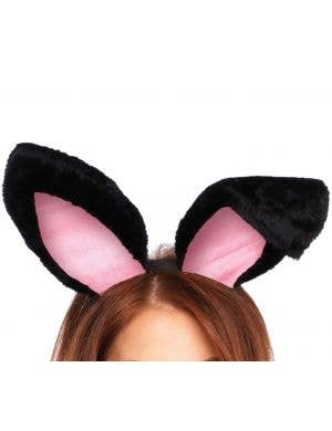 Plush Black Bunny Rabbit Ears Headband Costume Accessory