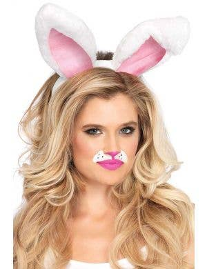 Plush White Bunny Ears Costume Accessory