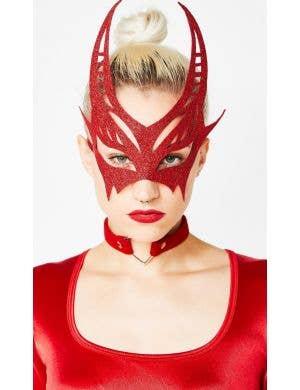 Glitter Red Women's Devil Horns Masquerade Mask Costume Accessory