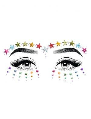 Jovi Rainbow Star Face Jewels Costume Accessory