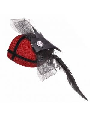 Glitter Fascinator In Red