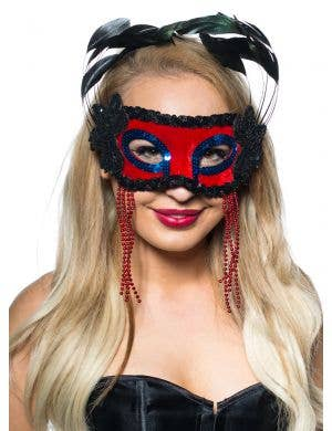 Feather Spray Masquerade Mask in Red and Black