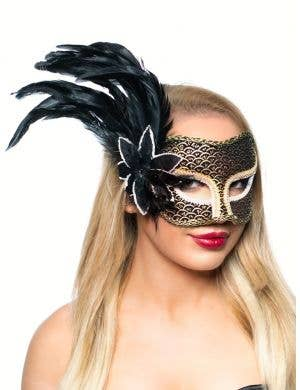 Theatre Side Feather Black Luxury Masquerade Mask