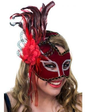 Thespian Side Feather Red Masquerade Mask