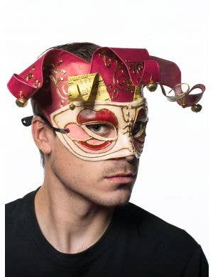 Musical Jesters Mask in White Gold & Red