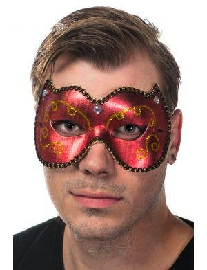 Unisex Vinyl Mask In Red and Gold