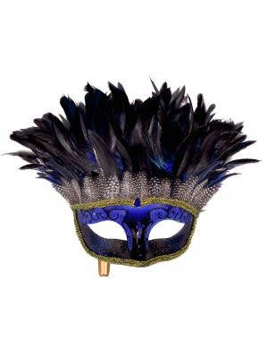 Mystery Blue Feather Masquerade Mask with Handle