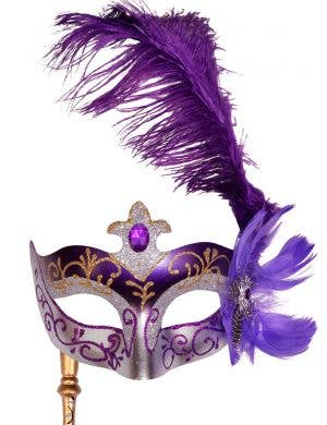 Venetian Side Feather Purple Hand Held Masquerade Mask