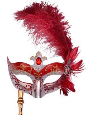 Venetian Side Feather Red Hand Held Masquerade Mask