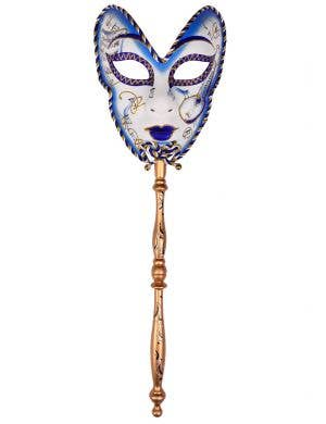 Volto Carnivale Blue Masquerade Mask with Stick