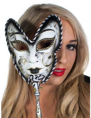 Volto Carnivale Black Masquerade Mask with Stick