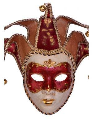 Deluxe Red Full Face Venetian Masquerade Mask