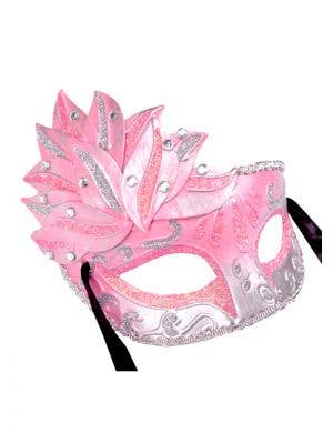 Side Overlay Pink & Silver Adult's Venetian Mask