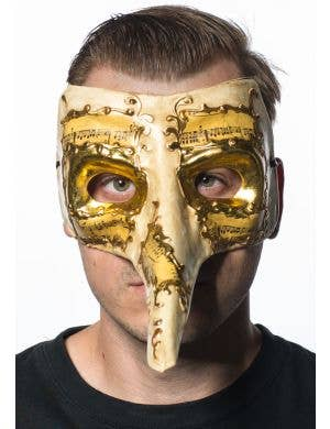 Long Nose Venetian Cream and Gold Masquerade Mask