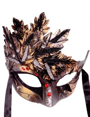 Autumn Leaf Bronze & Black Venetian Mask