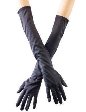 Opera Long Black Stretch Women's Costume Gloves