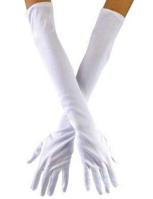 Opera Long White Stretch Women's Costume Gloves
