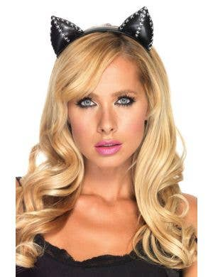 Stitched Faux Leather Cat Ears on Headband