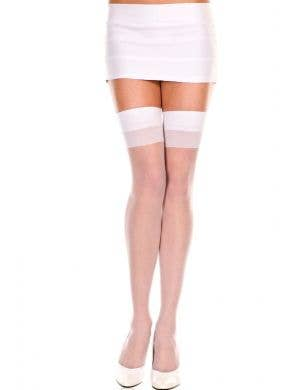Sheer Plus Size Thigh High Stockings In White