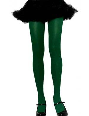 Opaque Full Length Women's Hunter Green Pantyhose - Plus Size