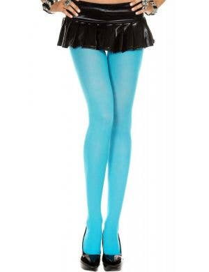 Opaque Full Length Women's Turquoise Pantyhose - Plus Size