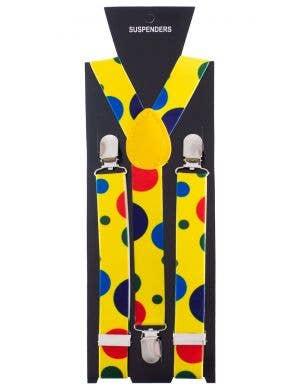 Clown Multicoloured Polka Dot Suspenders Costume Accessory