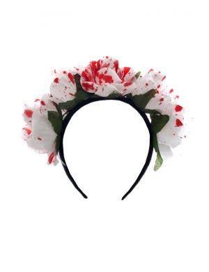 Blood Splattered White Rose Headband Halloween Costume Accessory