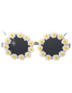 Daisy Rimmed Novelty 70's Hippie Costume Glasses