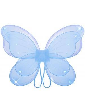 Sparkly Blue Girls Butterfly Costume Wings