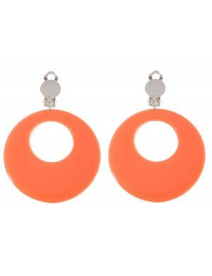 Clip On Women's Orange Earrings Costume Accessory