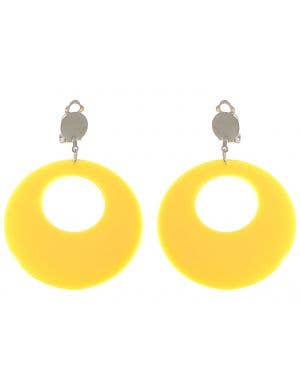 Clip On Women's Yellow Earrings Costume Accessory