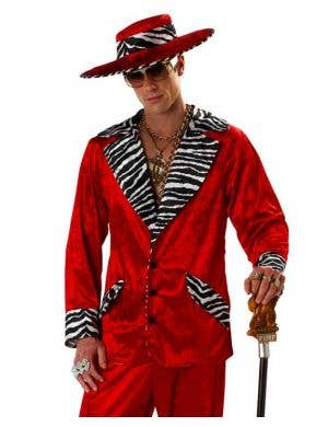 Playa Pimp Men's Red Fancy Dress Costume