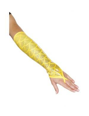 Fingerless Elbow Length Women's Yellow Mermaid Gloves