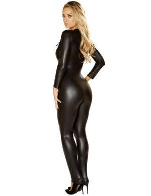 Corset-Lacing Black Catsuit Women's Sexy Costume