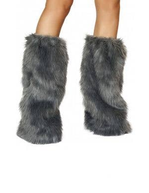 Fur Boot Covers Grey Costume Accessory