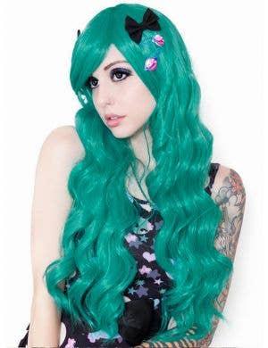 Classic Teal Green Deluxe Women's Long Wavy Wig