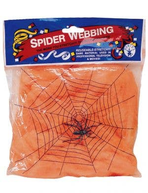 Giant UV Reactive Orange Spiderweb Halloween Decoration