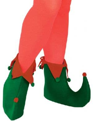 Claus Play Green and Red Adults Elf Costume Shoes