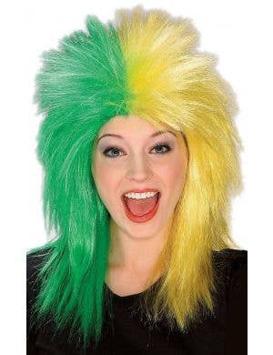 Sports Fanatic Green And Yellow Costume Wig