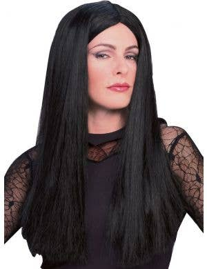 Morticia Women's Long Black Halloween Wig