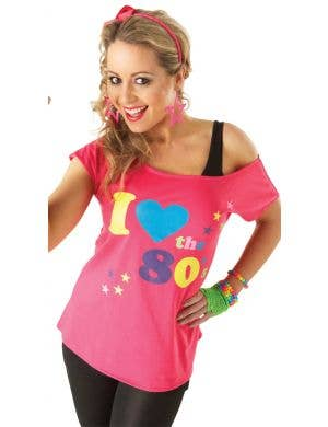 I Heart The 80's Pink Womens Costume Shirt