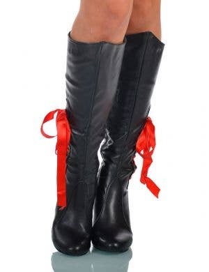 Lace Up Black High Heel Pirate Boots
