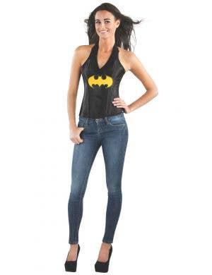 Sexy Women's Black Batgirl Superhero Satin Costume Corset