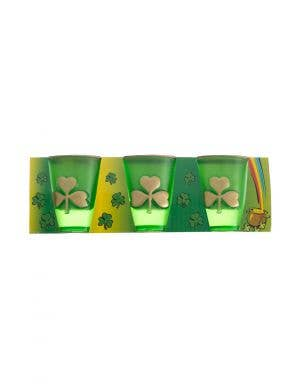 St Patrick's Day Green Shamrock Plastic Shot Glass Set