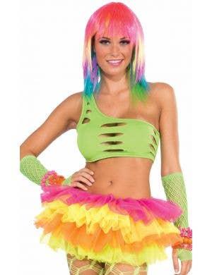 Candy Club 80's Neon Green Costume Cutout Bra Top
